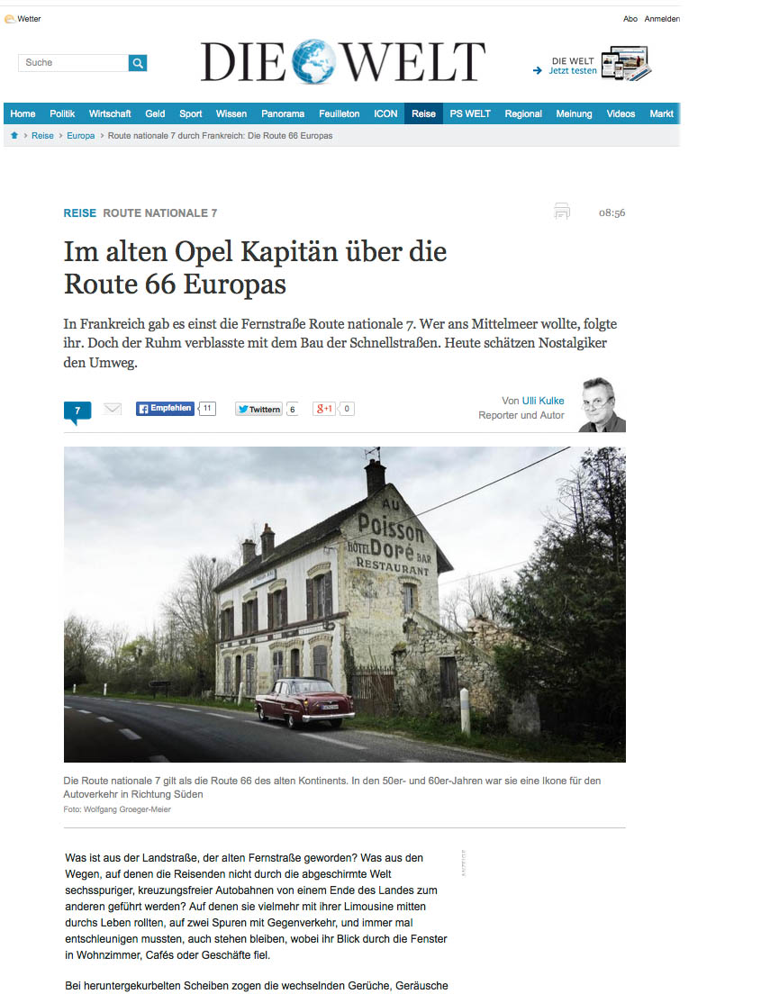 Nationale 7, Welt am Sonntag, Route Nationale 7, Opel KapitŠn, Frankreich
